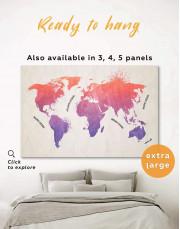 Modern Pink World Map Canvas Wall Art