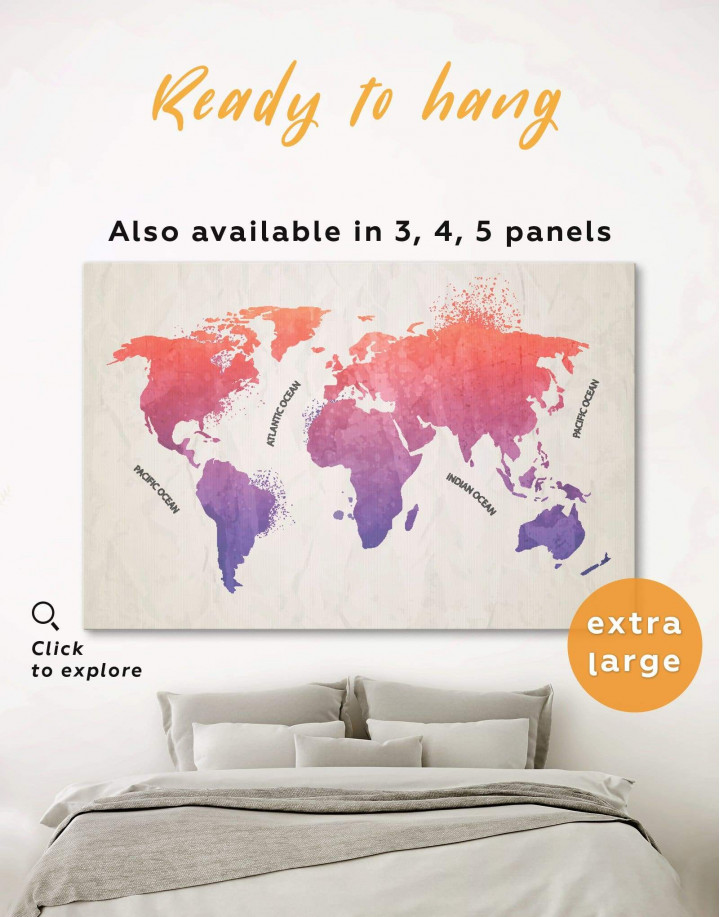 Modern Pink World Map Canvas Wall Art - Image 0