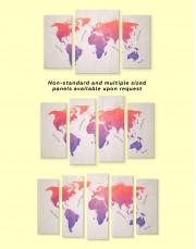 Modern Pink World Map Canvas Wall Art - image 2