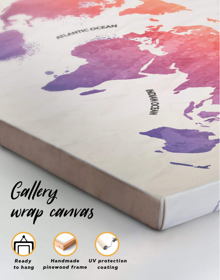 Modern Pink World Map Canvas Wall Art - Image 4