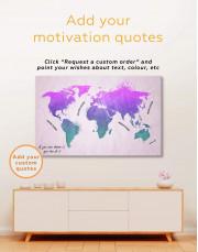 Modern Pink World Map Canvas Wall Art - image 1