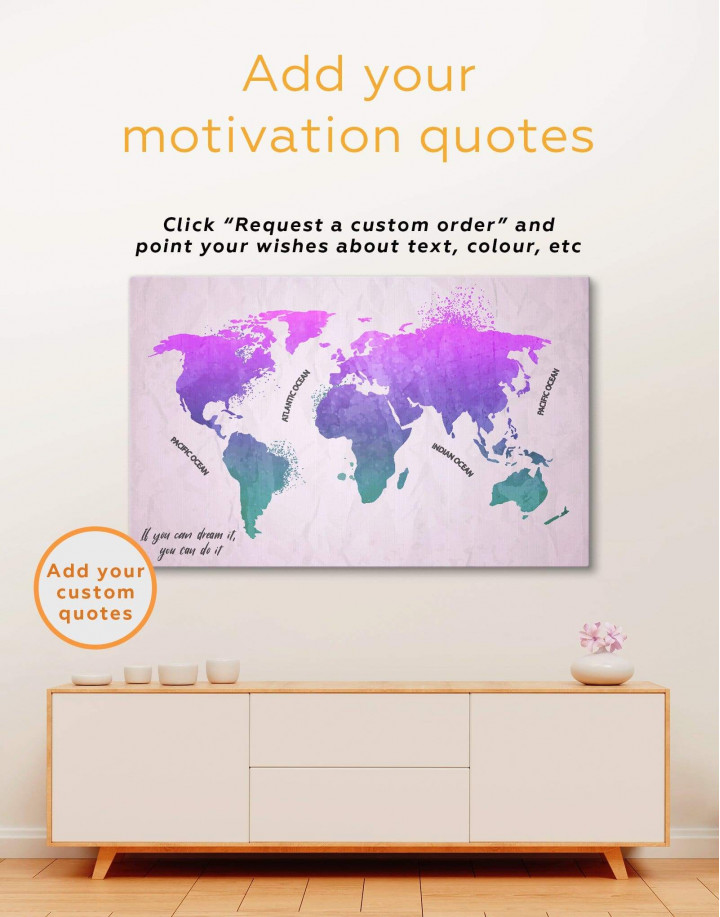 Modern Pink World Map Canvas Wall Art - Image 1