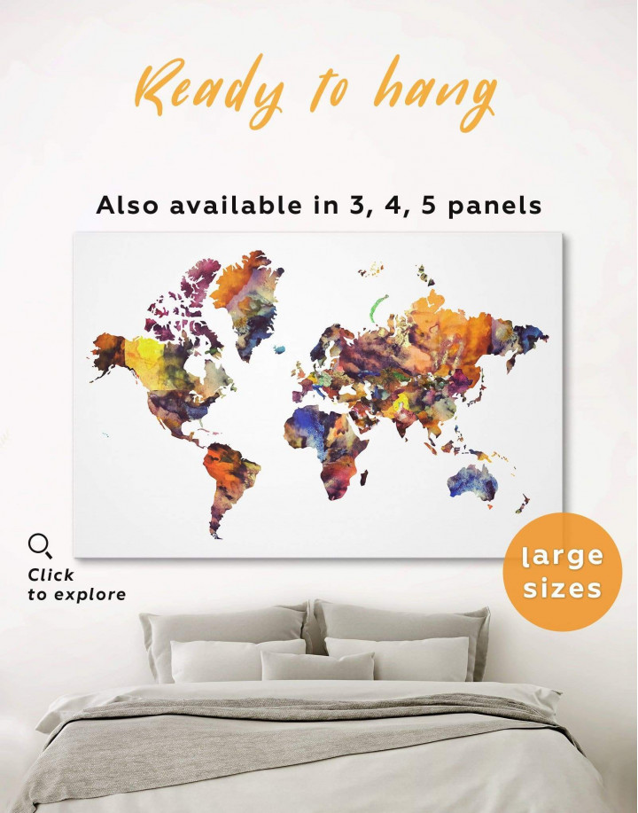 Colorful Abstract World Map Canvas Wall Art - Image 0