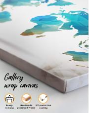 Geometric Navy Blue World Map Canvas Wall Art - Image 1