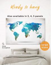 Geometric Navy Blue World Map Canvas Wall Art