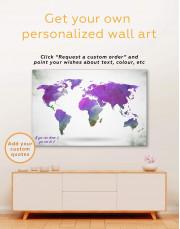 Geometric Navy Blue World Map Canvas Wall Art - Image 2