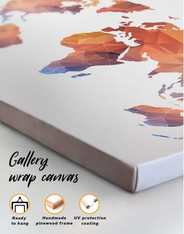 Polygonal Orange World Map Canvas Wall Art - image 1