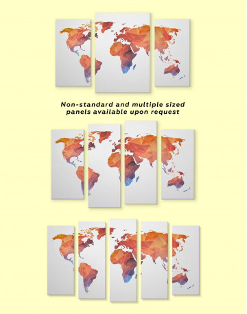Polygonal Orange World Map Canvas Wall Art - image 3