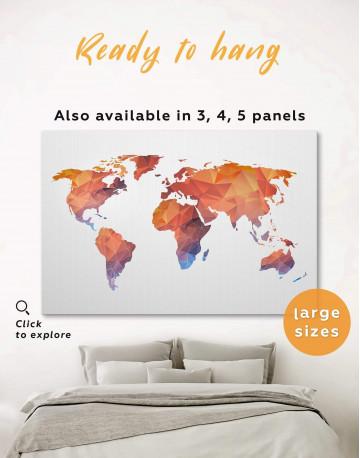 Polygonal Orange World Map Canvas Wall Art
