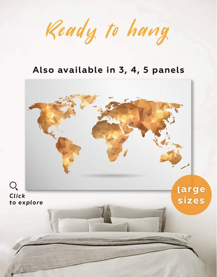Gold Geometric World Map Canvas Wall Art - Image 0