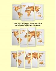 Gold Geometric World Map Canvas Wall Art - Image 3