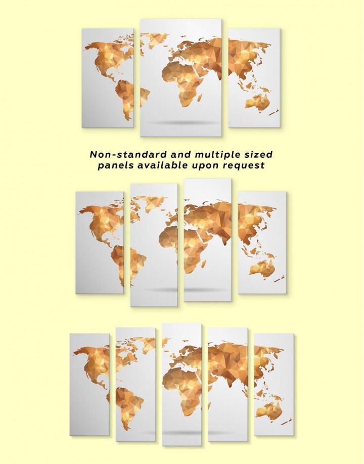 Gold Geometric World Map Canvas Wall Art - Image 2