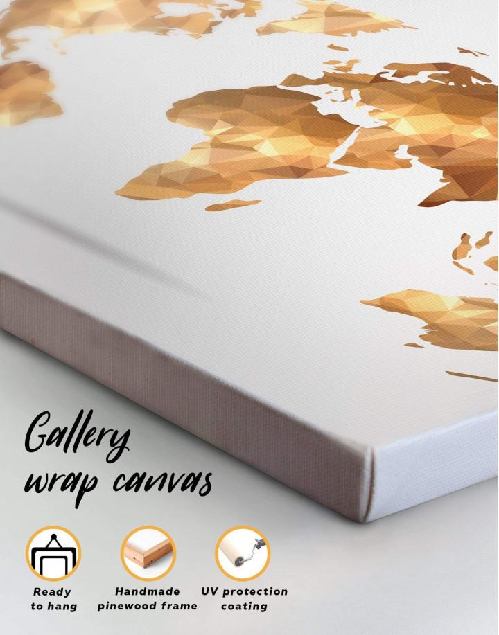 Gold Geometric World Map Canvas Wall Art - Image 4