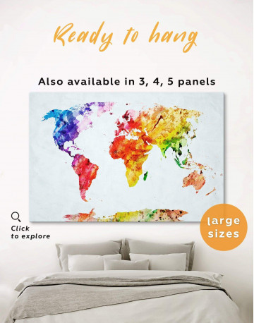 Multicolored Abstract World Map Canvas Wall Art