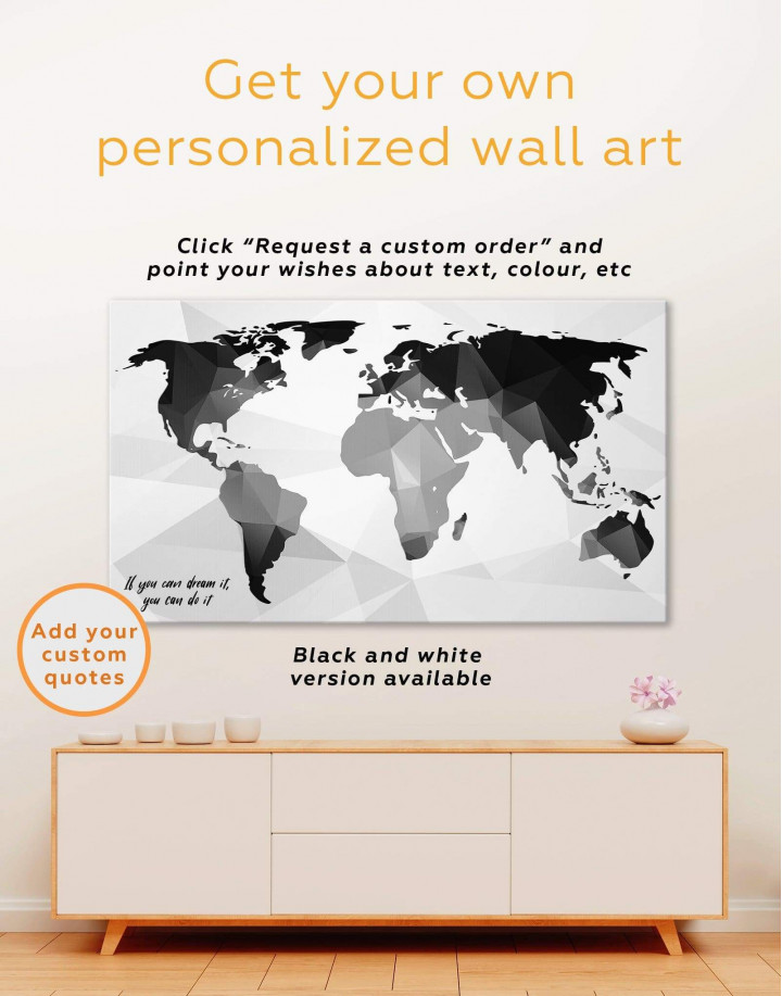 Extraordinary Abstract World Map Canvas Wall Art - Image 2