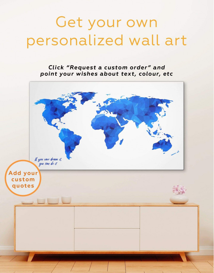 Teal Abstract World Map Canvas Wall Art - Image 1