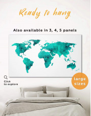 Teal Abstract World Map Canvas Wall Art - Image 0