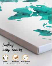 Teal Abstract World Map Canvas Wall Art - Image 4