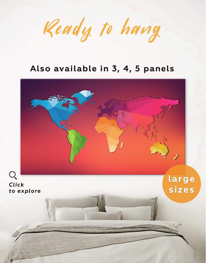 Modern Abstract World Map Canvas Wall Art - Image 0
