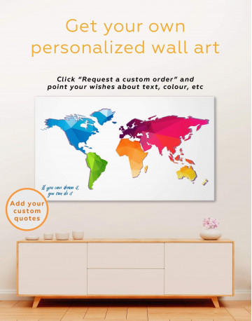 Modern Abstract World Map Canvas Wall Art - image 1