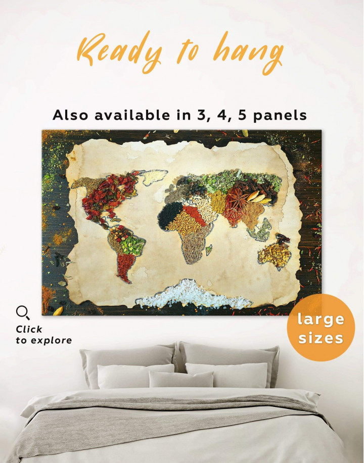 Spices World Map Canvas Wall Art - Image 0
