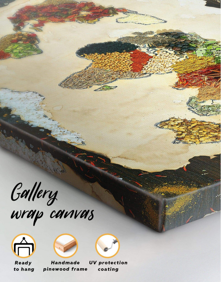 Spices World Map Canvas Wall Art - Image 3