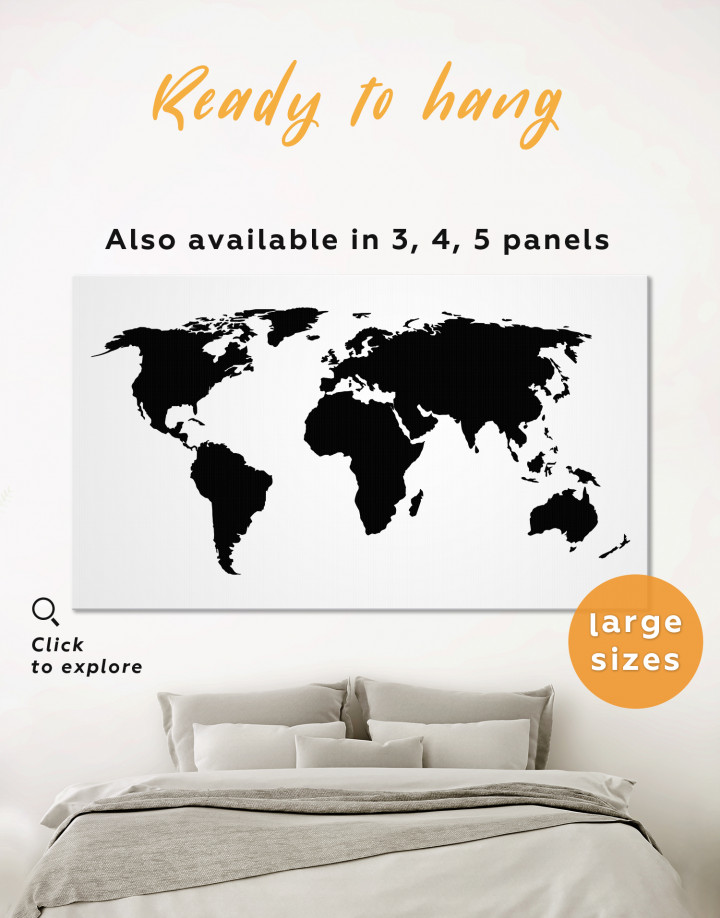 Black and White Map of the World Canvas Wall Art - Image 0
