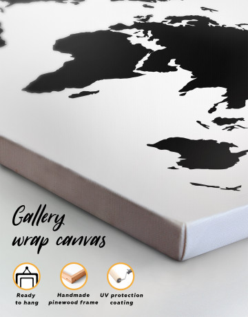 Black and White Map of the World Canvas Wall Art - image 3