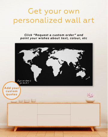 Black and White Map of the World Canvas Wall Art - image 1