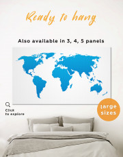 Blue Abstract World Map Canvas Wall Art