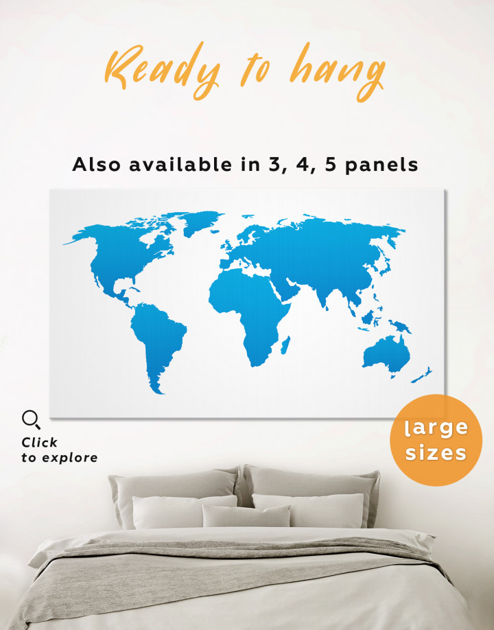 Blue Abstract World Map Canvas Wall Art - Image 0
