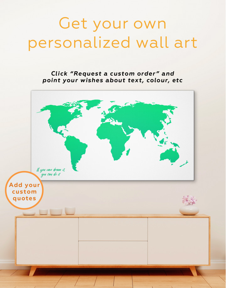 Blue Abstract World Map Canvas Wall Art - Image 1