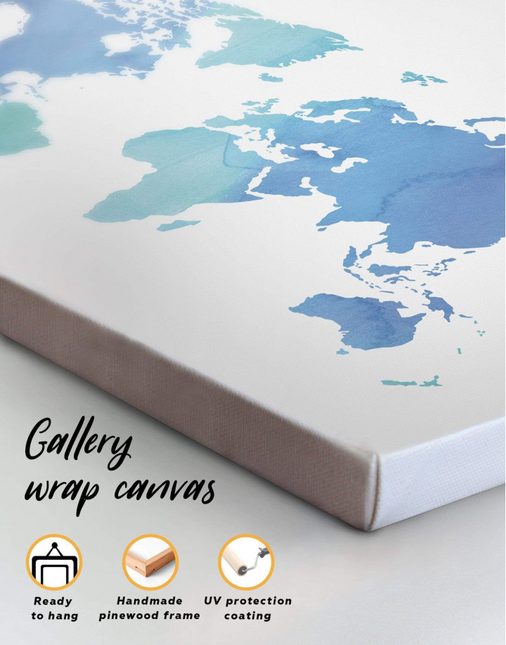 Azure World Map Canvas Wall Art - Image 4