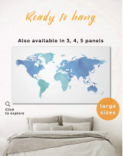 Azure World Map Canvas Wall Art - Image 0