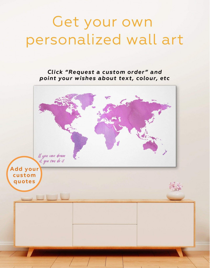 Azure World Map Canvas Wall Art - Image 3
