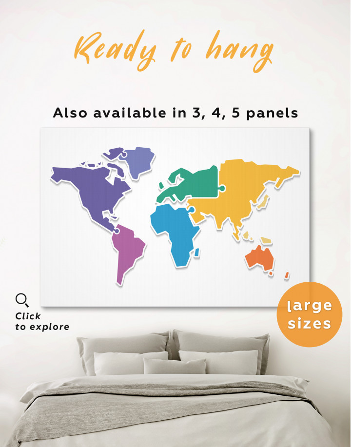 Puzzled Abstract World Map Canvas Wall Art - Image 0
