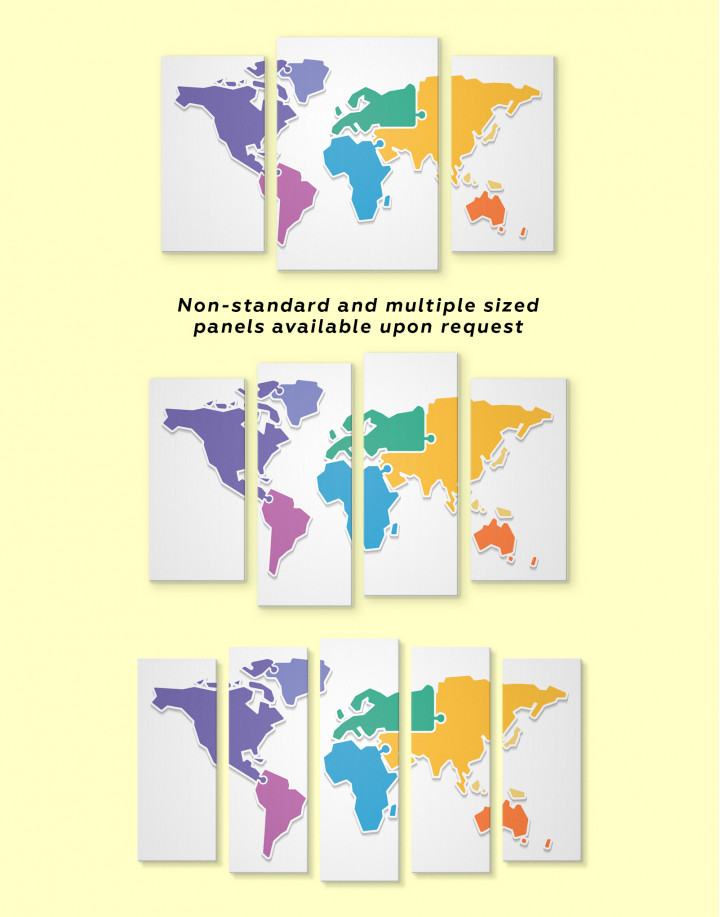 Puzzled Abstract World Map Canvas Wall Art - Image 3