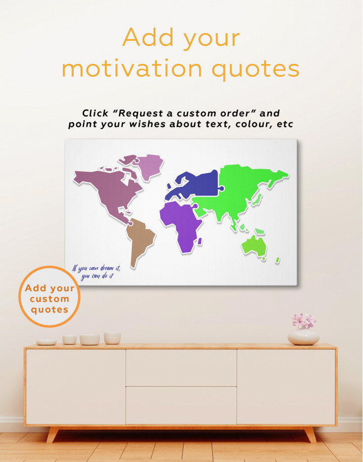 Puzzled Abstract World Map Canvas Wall Art - Image 1