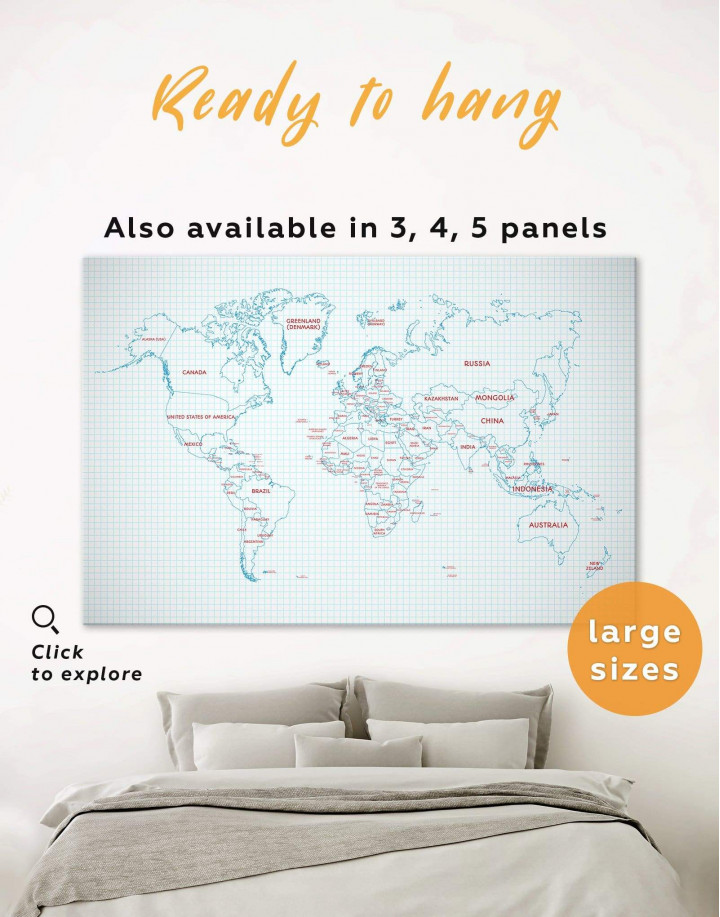 Map of the World Canvas Wall Art - Image 0