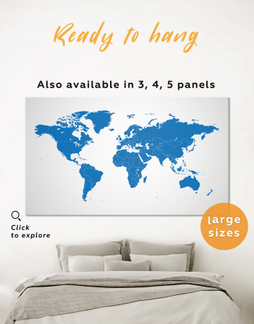 Blue Abstract Map of the World Canvas Wall Art
