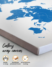 Blue Abstract Map of the World Canvas Wall Art - Image 3