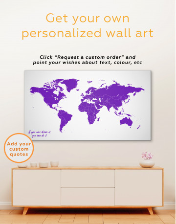 Blue Abstract Map of the World Canvas Wall Art - image 1