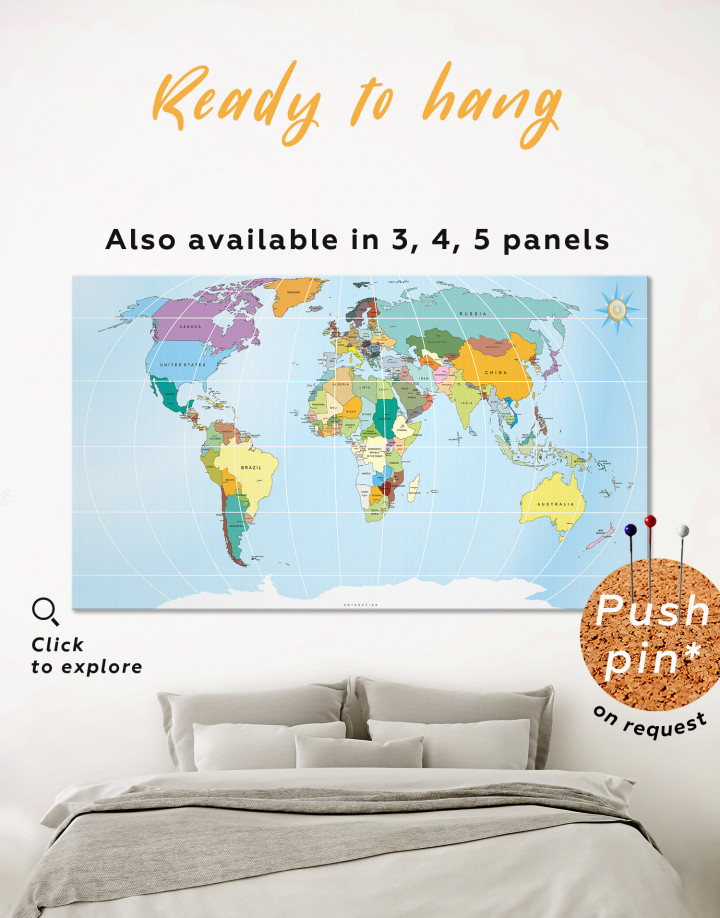 Political World map Canvas Wall Art - Image 0