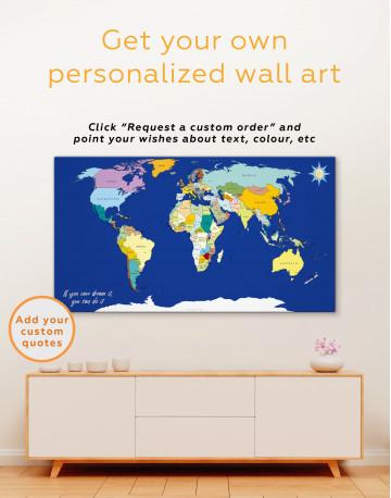 Political World map Canvas Wall Art - image 3