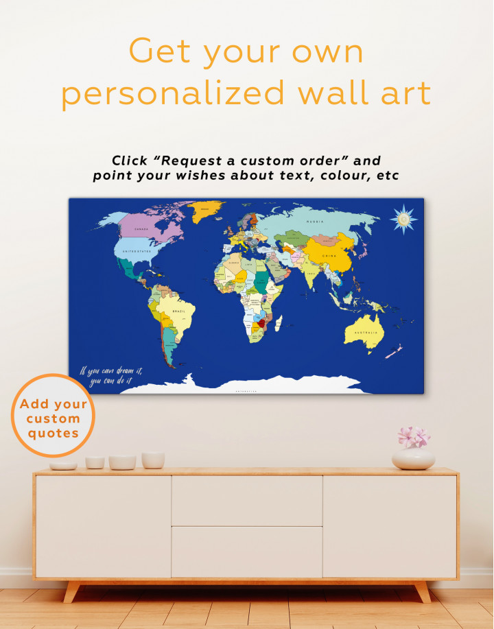 Political World map Canvas Wall Art - Image 3