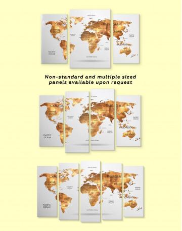 Golden Geometric World Map Canvas Wall Art - image 1