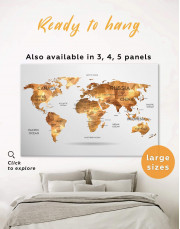 Golden Geometric World Map Canvas Wall Art - Image 0