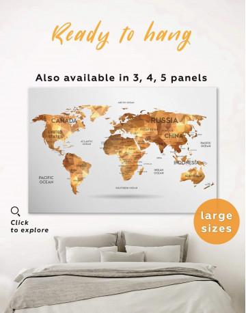Golden Geometric World Map Canvas Wall Art