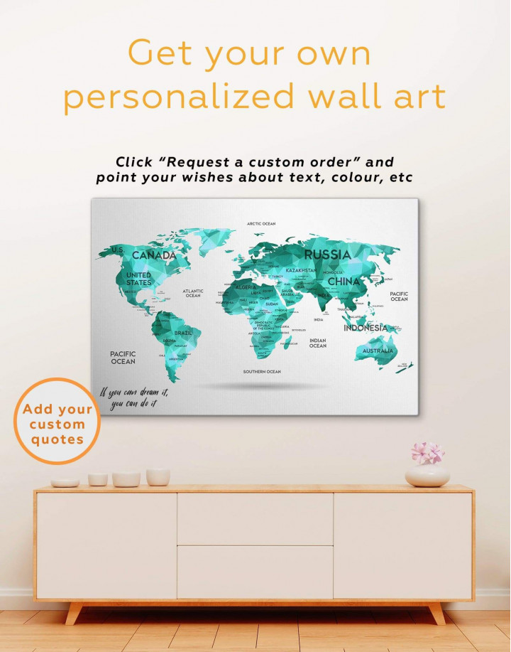 Golden Geometric World Map Canvas Wall Art - Image 3