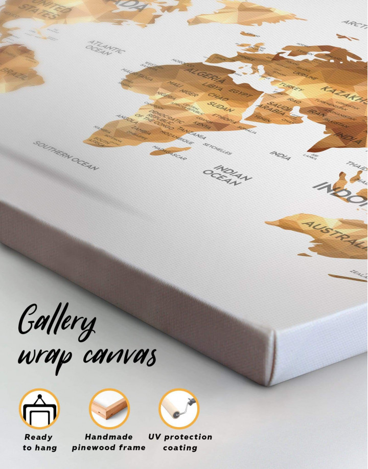Golden Geometric World Map Canvas Wall Art - Image 4